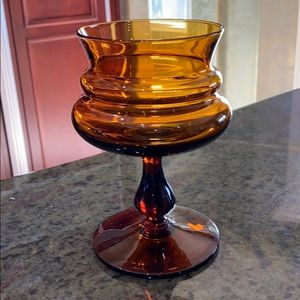 Vintage Amber Glass Footed Dish